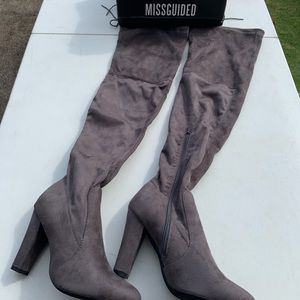 MISGUIDED Gray suede over the knee boots size 6/7